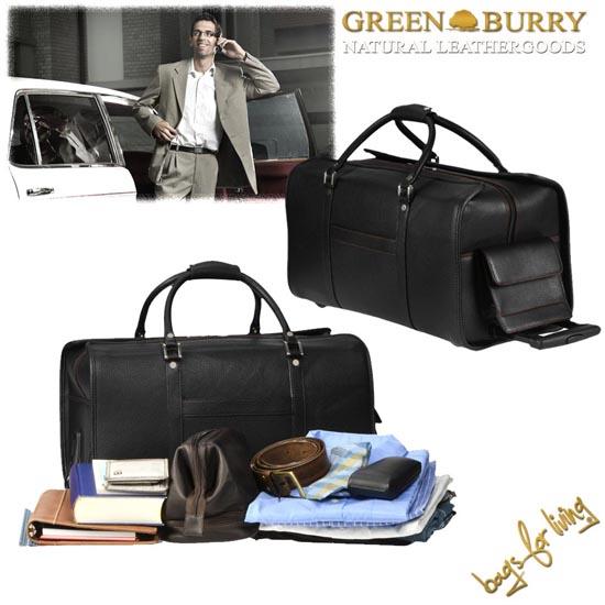 Leder Reisetasche mit Rollen von Greenburry
